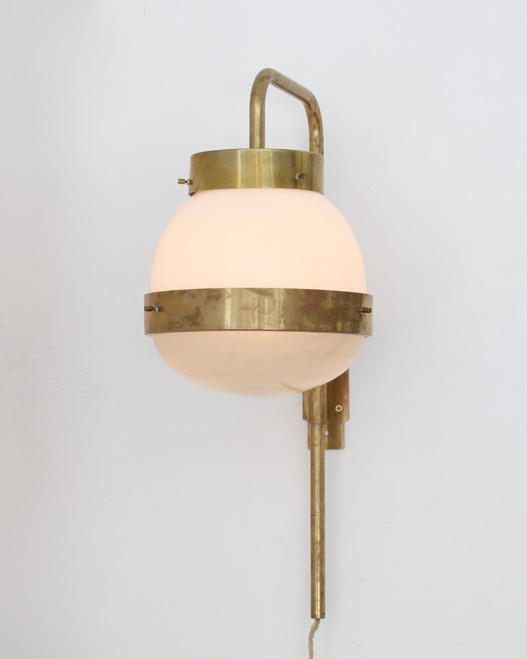 Brushed Sergio Mazza Italian Glass and Brass Vintage Delta Sconce by Artemide For Sale
