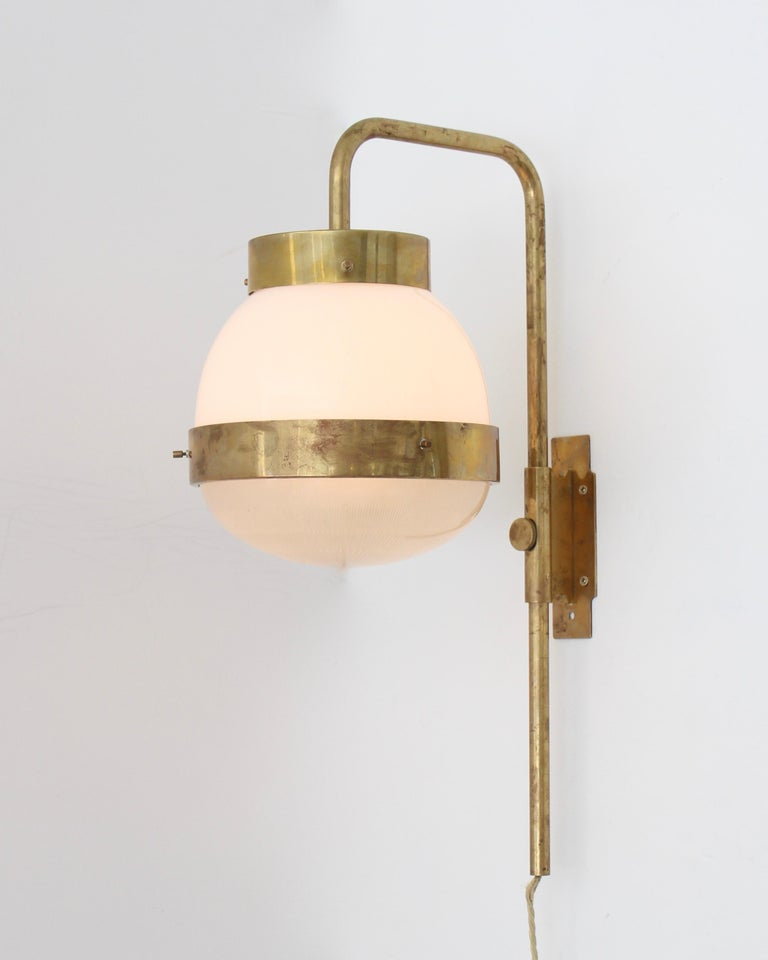 Mid-20th Century Sergio Mazza Italian Glass and Brass Vintage Delta Sconce by Artemide For Sale
