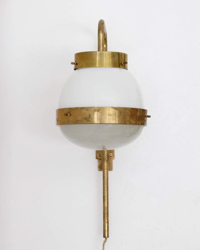 Nickel Sergio Mazza Italian Glass and Brass Vintage Delta Sconce by Artemide For Sale