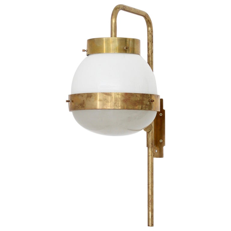 Sergio Mazza Italian Glass and Brass Vintage Delta Sconce by Artemide For Sale