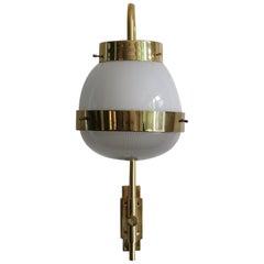 "Sergio Mazza Italian Glass Brass Wall Lamp or Sconce ""Delta"" for Artemide 1960"