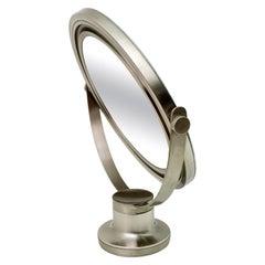 Sergio Mazza Mid-Century Modern Italian Metal Nickel Plated Table Mirror, 1970s