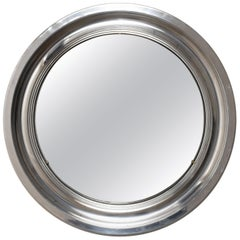 Sergio Mazza Midcentury Aluminum Italian Round Mirror in Artemide Style, 1960s