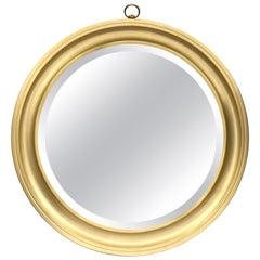 Sergio Mazza Midcentury Golden Aluminum Italian Round Mirror for Artemide, 1960s