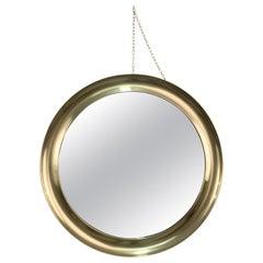 "Sergio Mazza Midcentury Round Brass Italian ""Narciso"" Mirror for Artemide, 1960s"