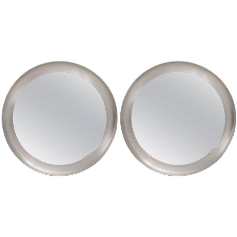 Sergio Mazza Narcisso Round Nickel Mirror Artemide, Italy, 1960