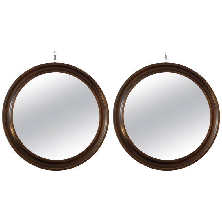 Sergio Mazza Pair of Brass Mirrors For Sale