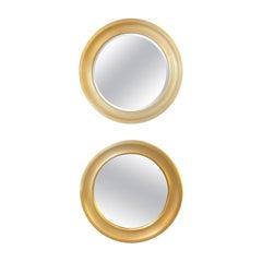 Sergio Mazza Round Mirrors Golden Aluminum Italian Design 1960s Satin
