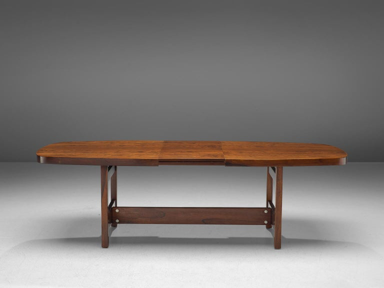 Sergio Rodrigues, extendable dining table, rosewood, Brazil, 1965