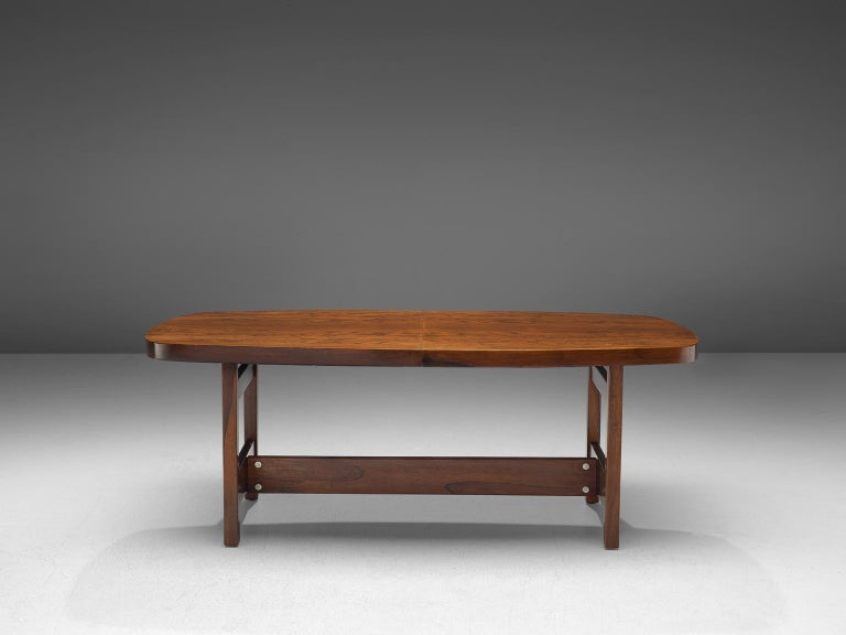 Mid-Century Modern Sergio Rodrigues Extendable Rosewood Dining Table For Sale