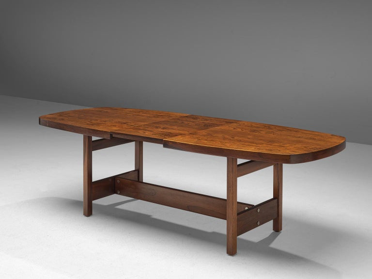 Brazilian Sergio Rodrigues Extendable Rosewood Dining Table For Sale