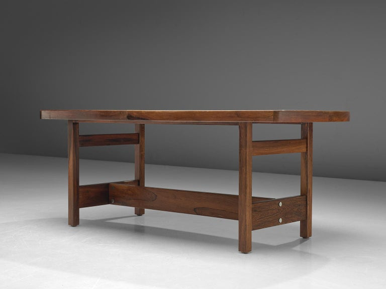 Mid-20th Century Sergio Rodrigues Extendable Rosewood Dining Table For Sale