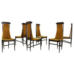 Sergio Rodrigues for Isa Bergamo Set of Midcentury Chairs Six Yellow Velvet 1950