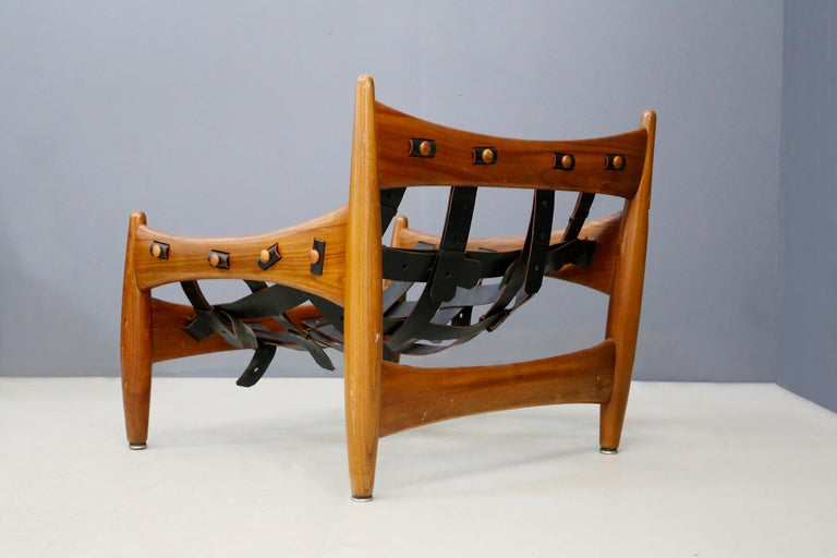 Italian Sergio Rodrigues for Isa Bergamo Sheriff Lounge Chair and Ottoman, Signed 1950s For Sale