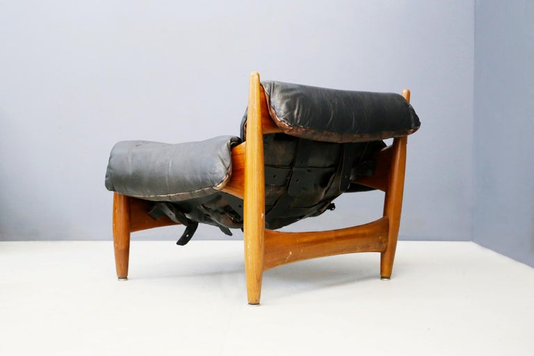 Leather Sergio Rodrigues for Isa Bergamo Sheriff Lounge Chair and Ottoman, Signed 1950s For Sale