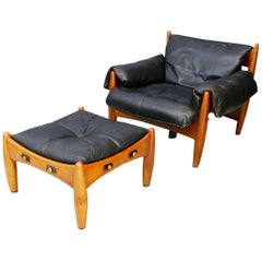 Sergio Rodrigues for Isa Bergamo Sheriff Lounge Chair and Ottoman, Signed 1950s