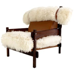 Sergio Rodrigues for Oca Solid Jacaranda Tonico Chair Restored in Sheepskin