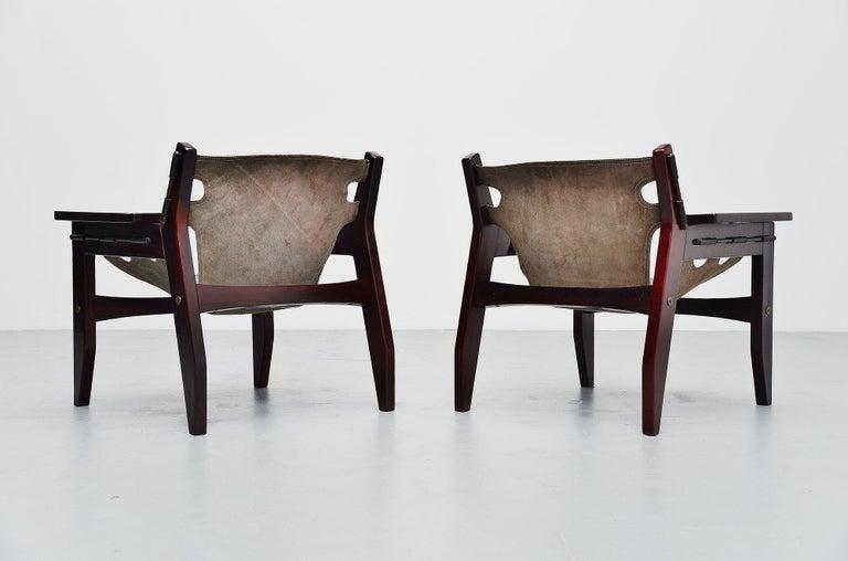 Mid-Century Modern Sergio Rodrigues Kilin Chairs Pair Oca, Brazil, 1973 For Sale