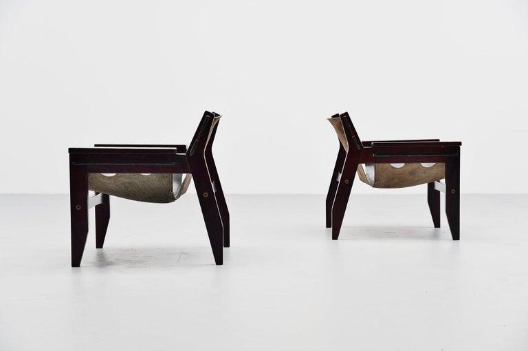 Brazilian Sergio Rodrigues Kilin Chairs Pair Oca, Brazil, 1973 For Sale