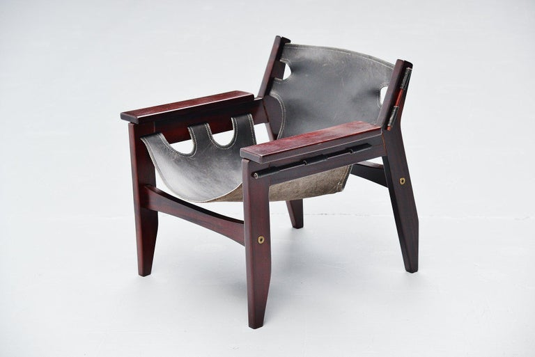 Leather Sergio Rodrigues Kilin Chairs Pair Oca, Brazil, 1973 For Sale