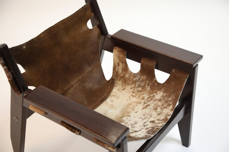 Sergio Rodrigues 'Kilin' Lounge Chair in Rosewood and Cowhide, OCA, Brazil 1970s For Sale 1