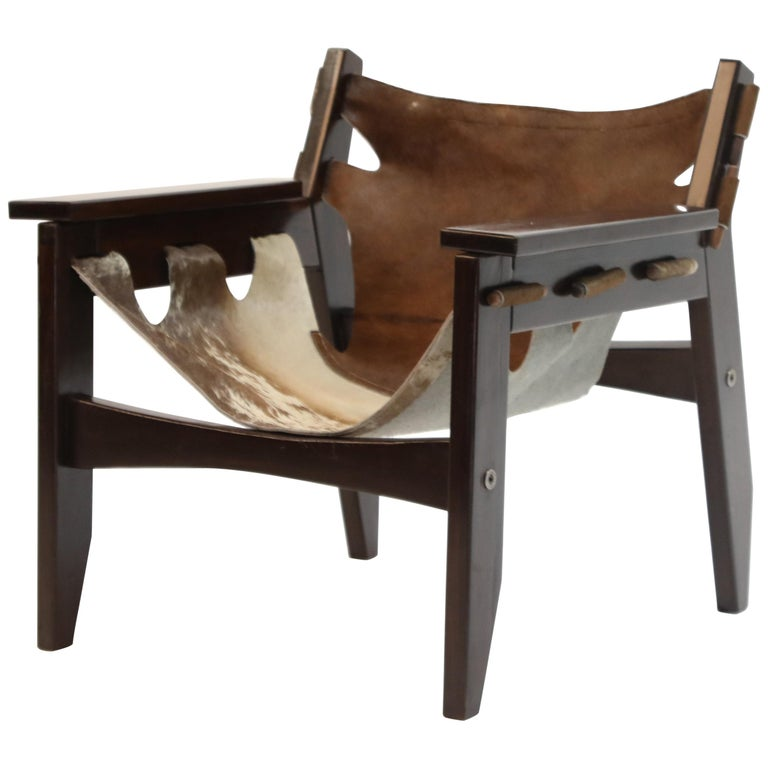 Sergio Rodrigues 'Kilin' Lounge Chair in Rosewood and Cowhide, OCA, Brazil 1970s For Sale