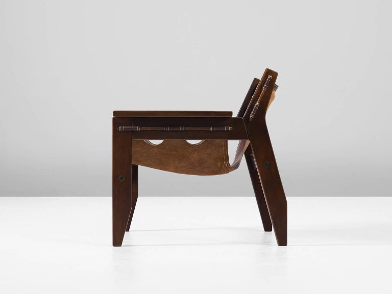Mid-Century Modern Sergio Rodrigues 'Kilin' Lounge Chair in Rosewood and Leather For Sale