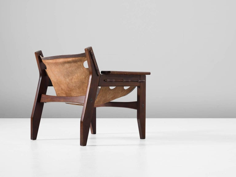 Brazilian Sergio Rodrigues 'Kilin' Lounge Chair in Rosewood and Leather For Sale