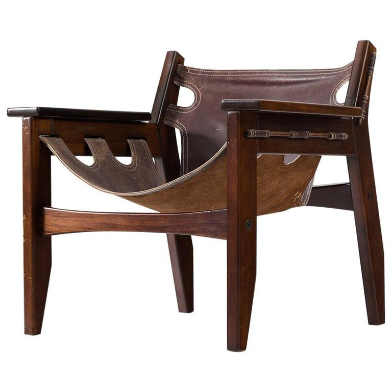 Sergio Rodrigues 'Kilin' Lounge Chair in Rosewood and Leather For Sale