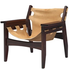 Sergio Rodrigues 'Kilin' Rosewood Armchair with Beige Leather