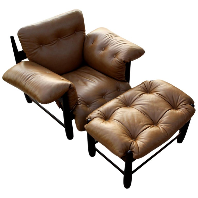 Sergio Rodrigues Mole Lounge Chair with Ottoman, 1957 For Sale