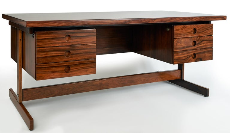 Mid-Century Modern Sérgio Rodrigues, Monumental + Exquisite Modernist Jacaranda Desk, Brazil 1960's For Sale