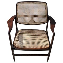"Sergio Rodrigues ""Oscar"" Armchair for OCA, Rosewood and Cane Chair, Single Item"