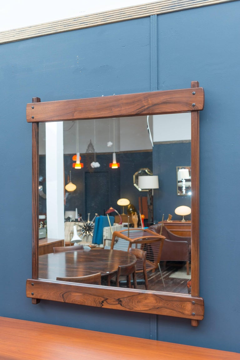 Brazilian Sergio Rodrigues Rosewood Wall Mirror For Sale