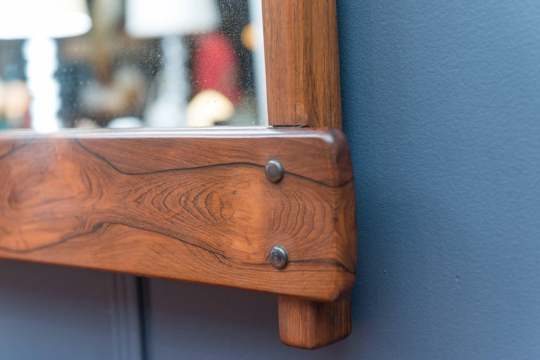 Sergio Rodrigues Rosewood Wall Mirror In Excellent Condition For Sale In San Francisco, CA