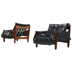 Sergio Rodrigues 'Sheriff' Pair of Lounge Chairs in Black Leather