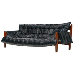 Sergio Rodrigues 'Sheriff' Sofa in Black Leatherette