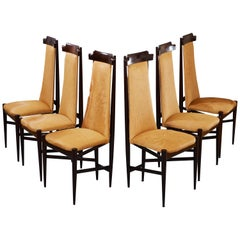 Sergio Rodrigues Six Dining Chairs in Jacaranda and Tan Cowhide, Brazil, 1960s