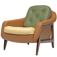 Sergio Rodrigues 'Stella' Lounge Chair in Rosewood and Leatherette