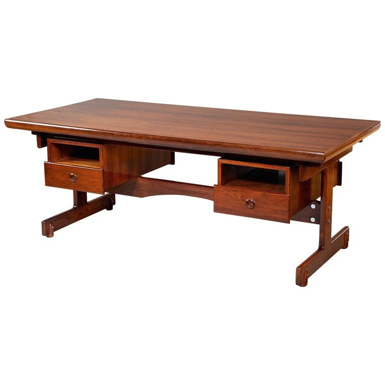 Sergio Rodrigues, Stunning and Monumental Modernist Jacaranda Desk, Brazil, 1962 For Sale