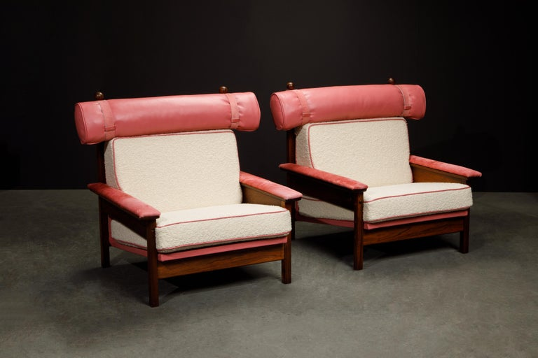 If you are looking for the most unique and coveted rare pair of armchairs for you or your client, look no further, this pair of Sergio Rodrigues 'Tonico' lounge chairs are the best examples you can find, and we will explain why below.   First,