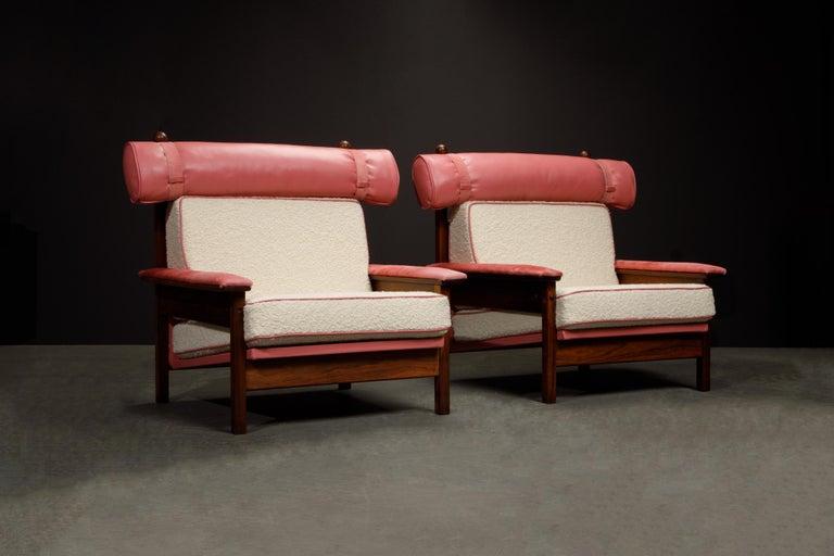 Sergio Rodrigues 'Tonico' Jacaranda, Leather and Alpaca Armchairs, 1960s Brazil For Sale 14
