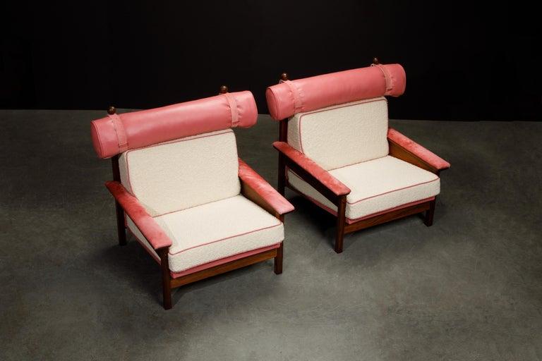 Mid-Century Modern Sergio Rodrigues 'Tonico' Jacaranda, Leather and Alpaca Armchairs, 1960s Brazil For Sale