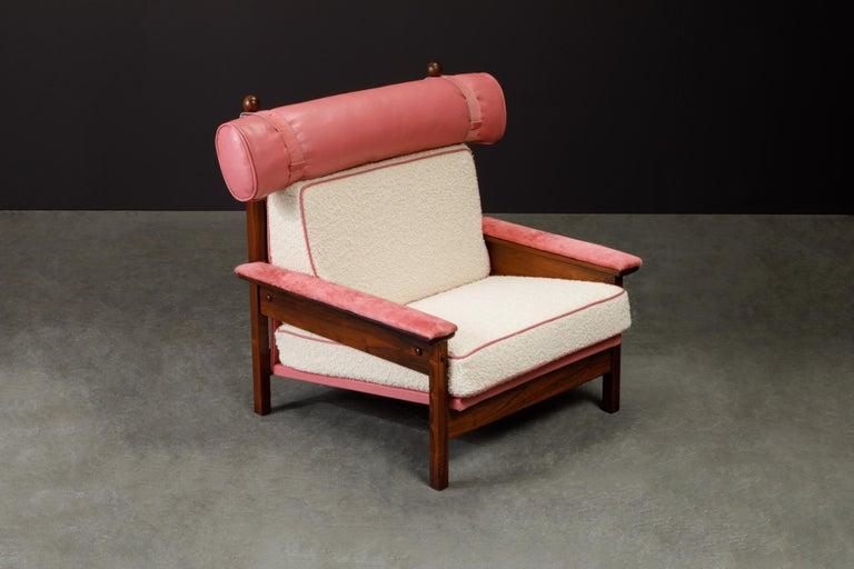 Sergio Rodrigues 'Tonico' Jacaranda, Leather and Alpaca Armchairs, 1960s Brazil For Sale 3