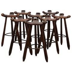 Sergio Rodriques Style Brutalist Bar Stools