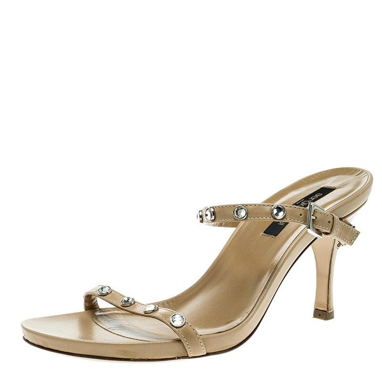 7c97f584905 Sergio Rossi Beige Leather Crystal Studded Ankle Strap Sandals Size 36 For  Sale at 1stdibs