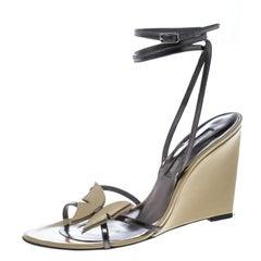 Sergio Rossi Beige/Metallic Grey Leather Strappy Wedge Sandals Size 38