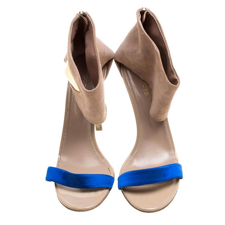 Brown Sergio Rossi Beige Suede And Blue Satin Ankle Cuff Open Toe Sandals Size 39.5 For Sale