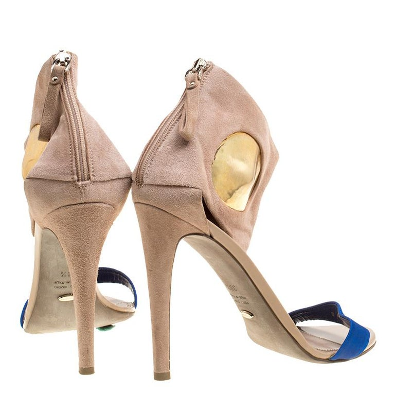 Women's Sergio Rossi Beige Suede And Blue Satin Ankle Cuff Open Toe Sandals Size 39.5 For Sale