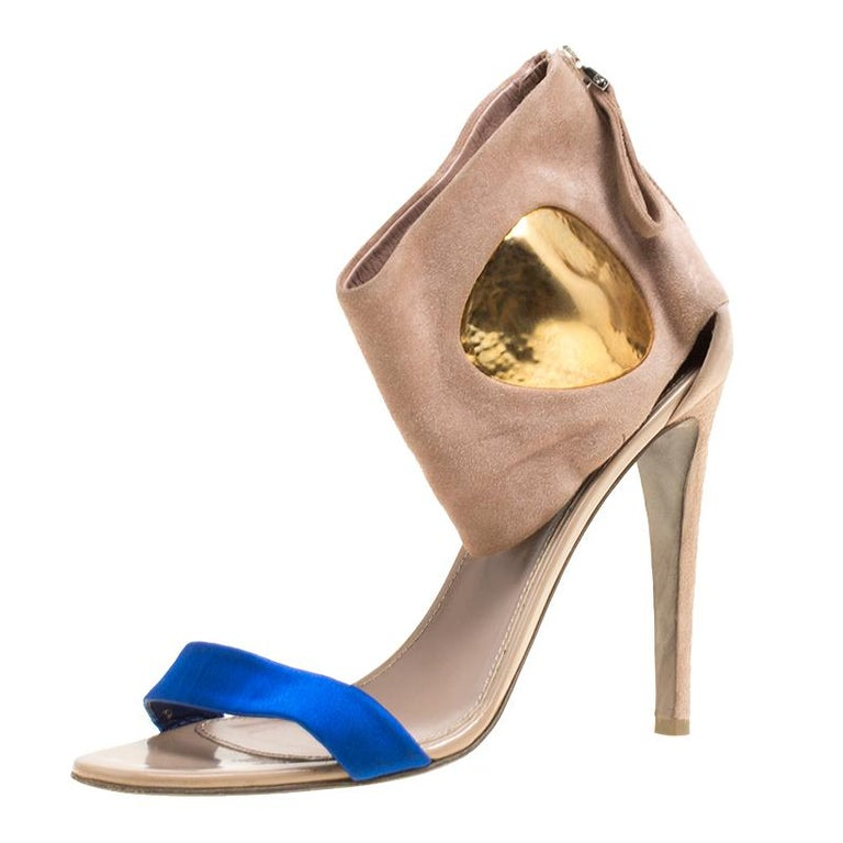 Sergio Rossi Beige Suede And Blue Satin Ankle Cuff Open Toe Sandals Size 39.5 For Sale